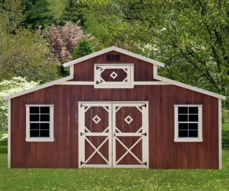 Red with white trim Country Barn by Mid-America Structures