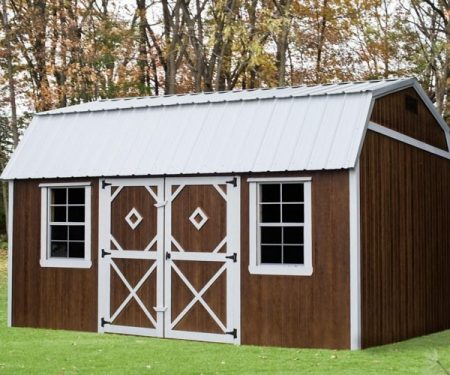 Stained with white trim Lofted Garden Shed by Mid-America Structures