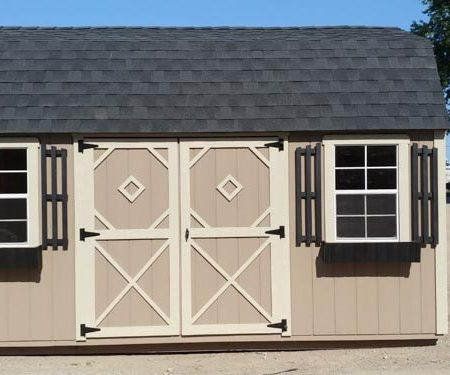 Tan with white trim Lofted Garden Shed by Mid-America Structures