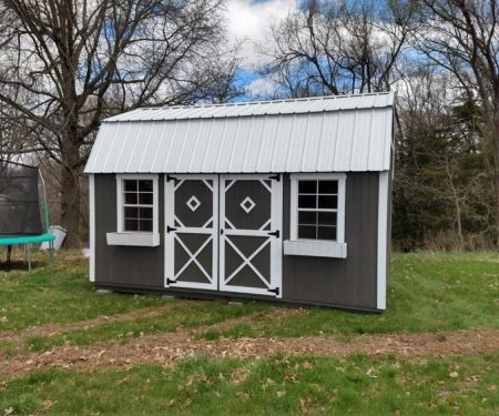 Grey with white trim Lofted Garden Shed by Mid-America Structures
