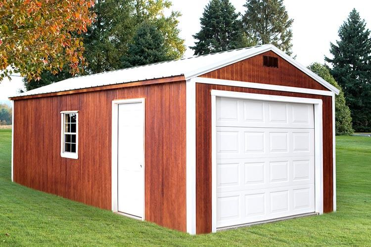 Red garage by Mid-America Structures