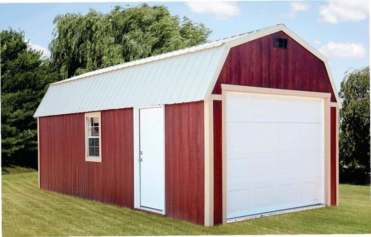 Red lofted garage by Mid-America Structures