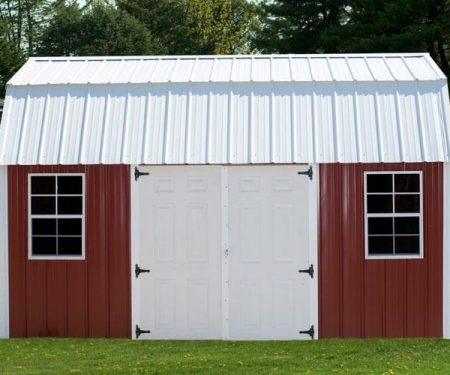 Red with white trim Lofted Garden Shed by Mid-America Structures