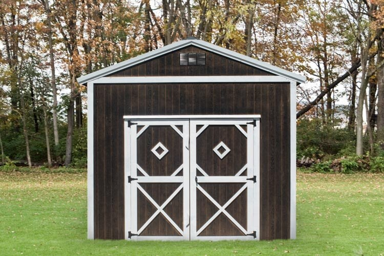 Brown lofted Utility Shed by Mid-America Structures