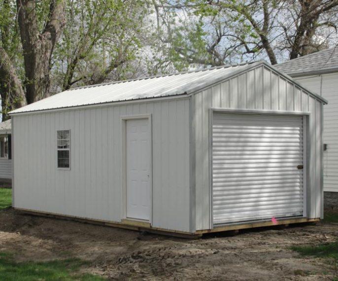 White metal garage