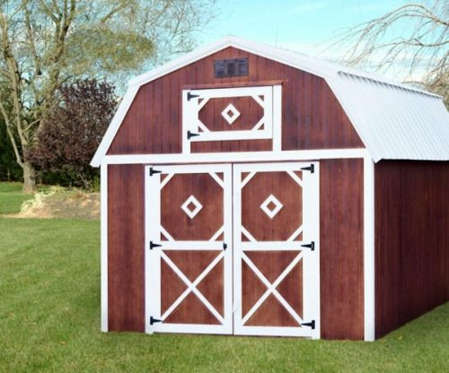 Red sides with white trim on a Lofted storage barn