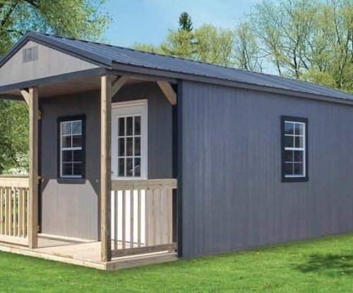 Painted Portable Cabin with a metal roof